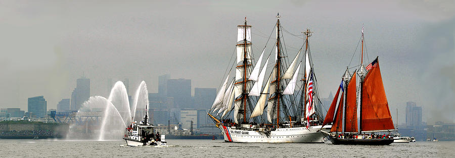 Sail Boston Photograph - Eagle and Roseway by John Brown