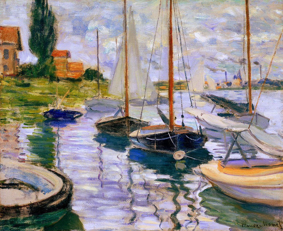 French Painters Painting - Sailboats On The Seine  by Claude Monet