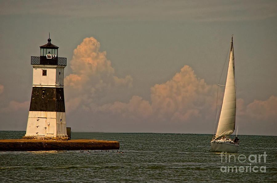 Lighthouse Photograph - Sailing Away by Gaby Swanson