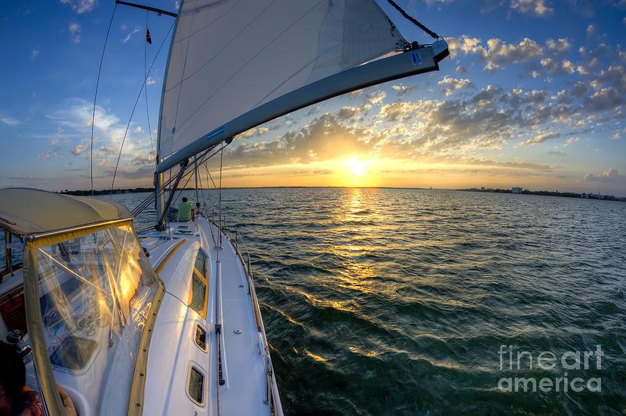 Charleston Sc Photograph - Sailing Sunset Charleston Sc Beneteau 49 by Dustin K Ryan