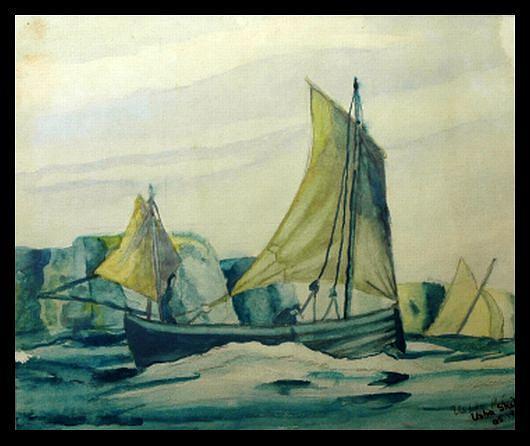 Seascape Painting - Sailing by Usha Rai