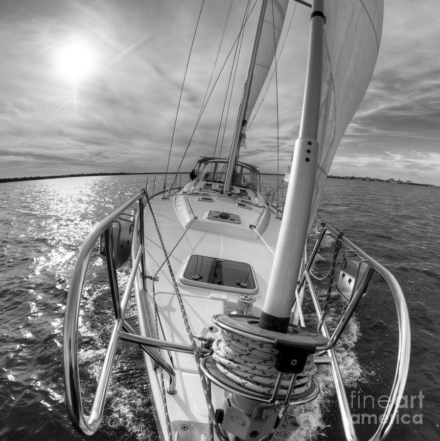 Sailing Yacht Fate Beneteau 49 Black And White Photograph