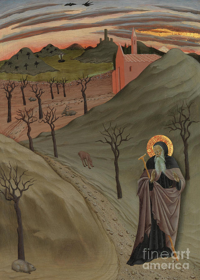 Sunset Painting - Saint Anthony The Abbot In The Wilderness by Master of the Osservanza