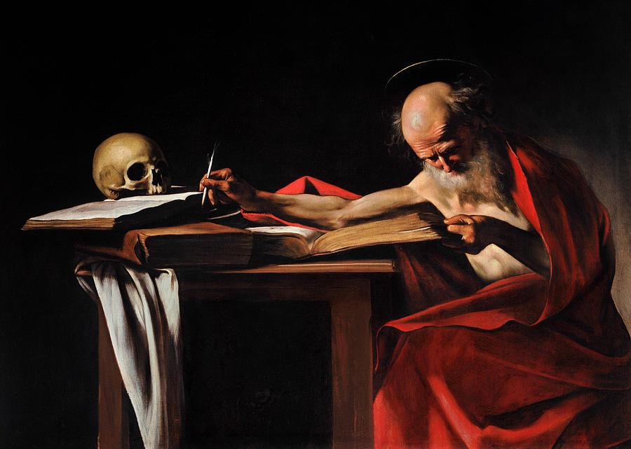 Caravaggio Painting - Saint Jerome Writing by Caravaggio