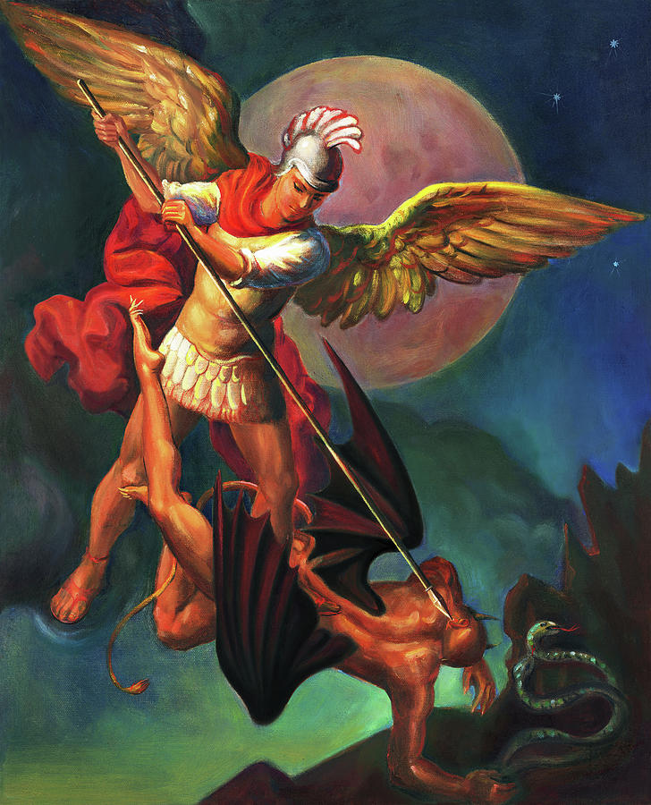 Bible Painting - Saint Michael the Warrior Archangel by Svitozar Nenyuk