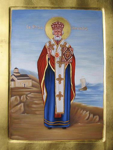 Byzantine Art Painting - Saint Nicholas by Biljana Vujaklija