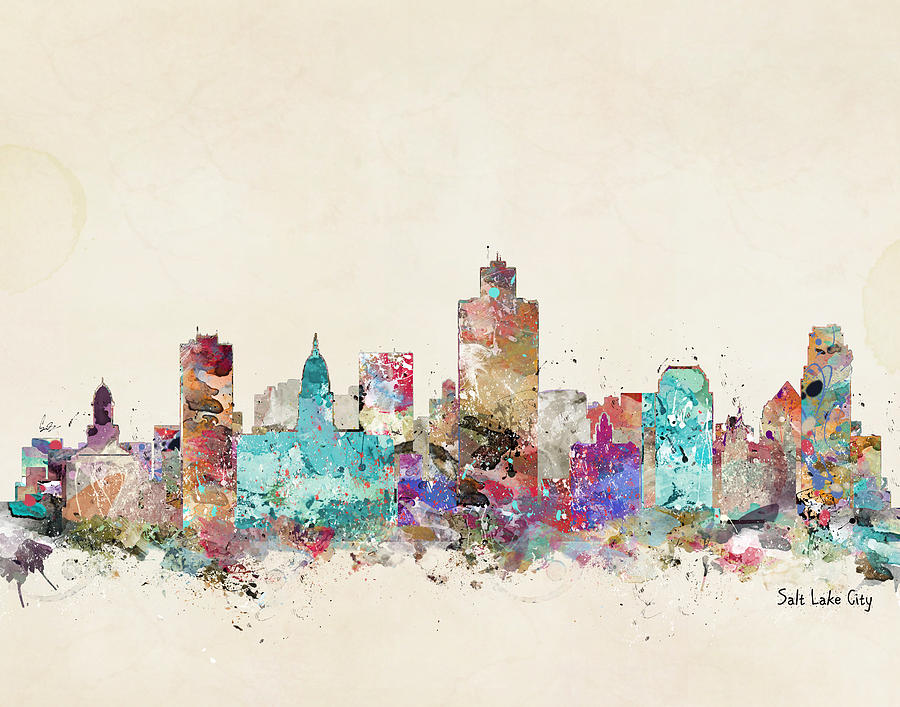 Salt Lake City Skyline Painting - Salt Lake City Skyline 1 by Bri Buckley