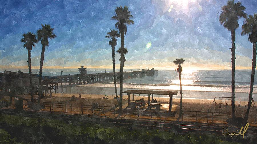 San Clemente Digital Art - San Clemente Pier by Roger Merrill