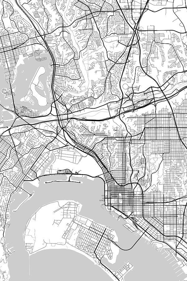San Diego California Usa Light Map