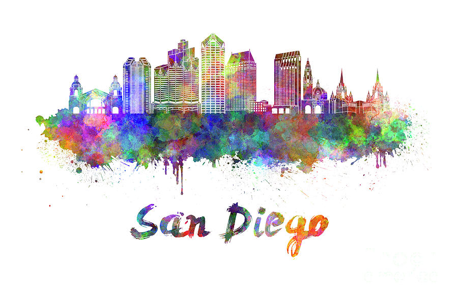 San Diego Skyline In Watercolor Painting By Pablo Romero
