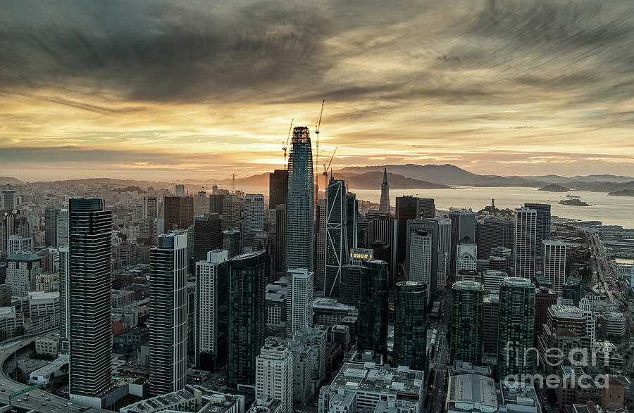 Aerial Photograph - San Francisco City Skyline At Sunset Aerial by David Oppenheimer