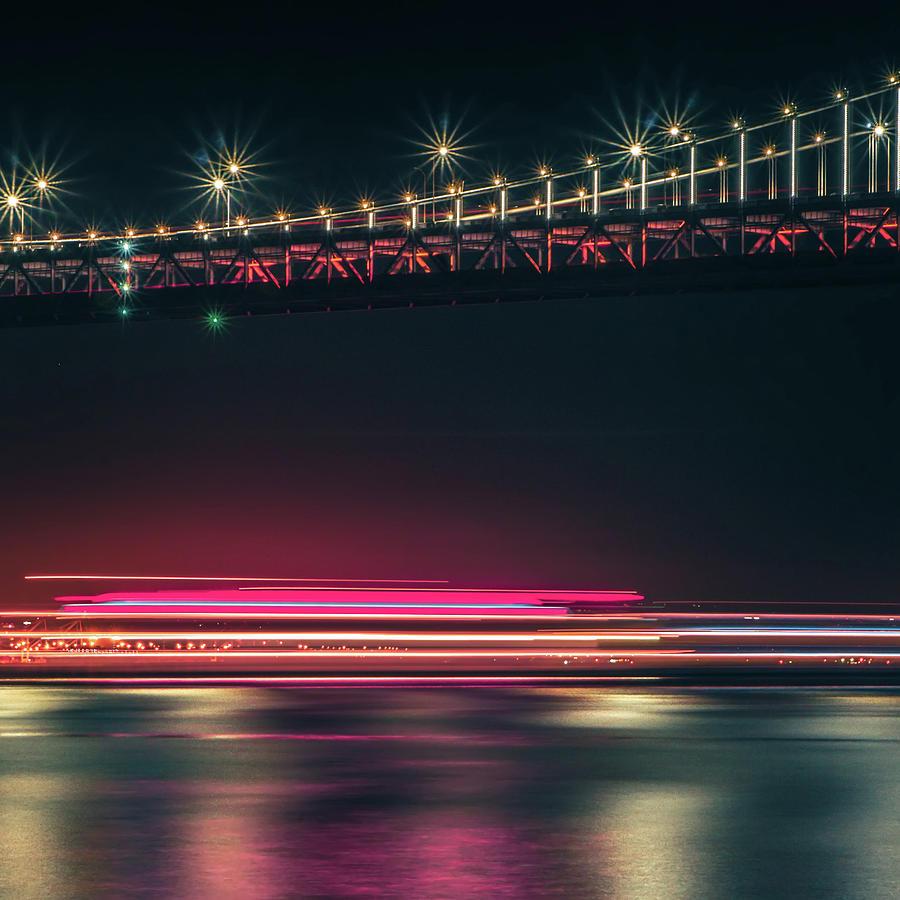 Bridge Photograph - San Francisco Patry Ferry Casino Near Oakland Bay Bridge At Nigh by Alex Grichenko