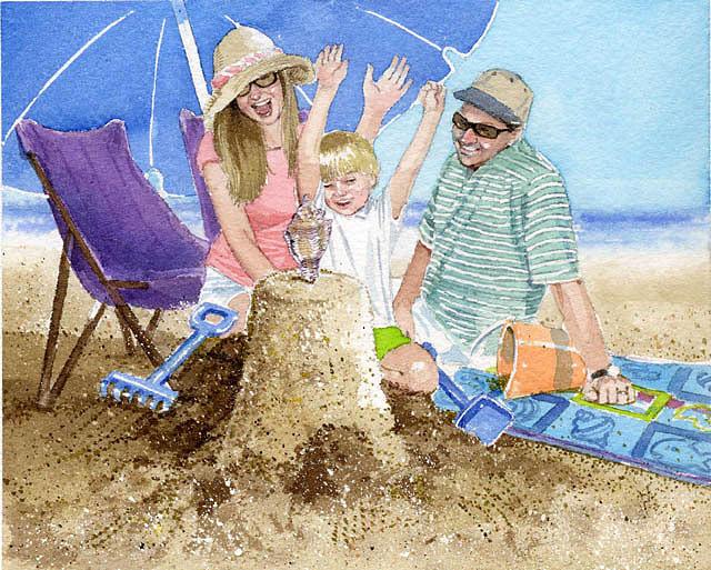 Beach Painting - Sand Castle by Denny Bond