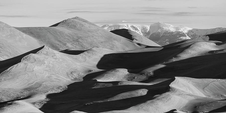 Monochrome Photograph - Monochrome Sand Dunes And Rocky Mountains Panorama by James BO Insogna