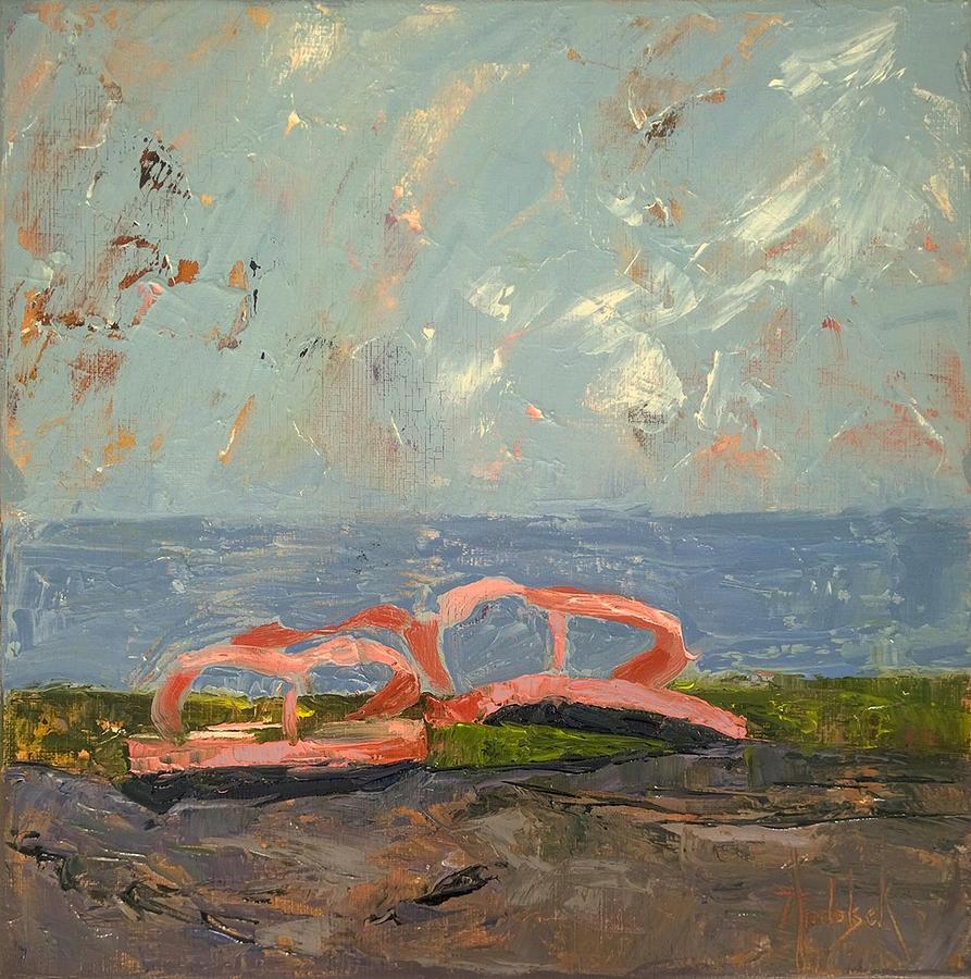 Beach Painting - Sandals by Barbara Andolsek