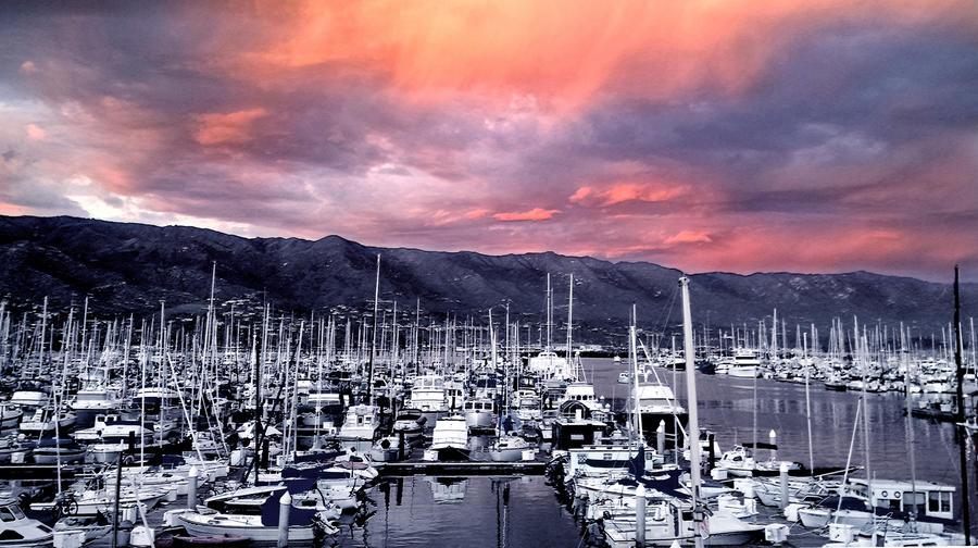 Santa barbara Harbor sunset by Danuta Bennett