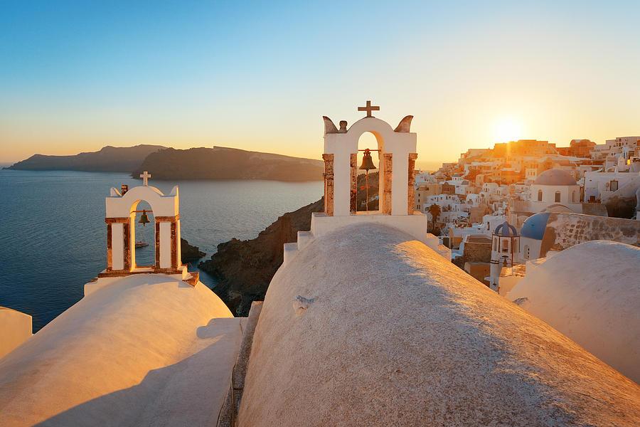 Greece Photograph - Santorini Skyline Sunset Bell by Songquan Deng