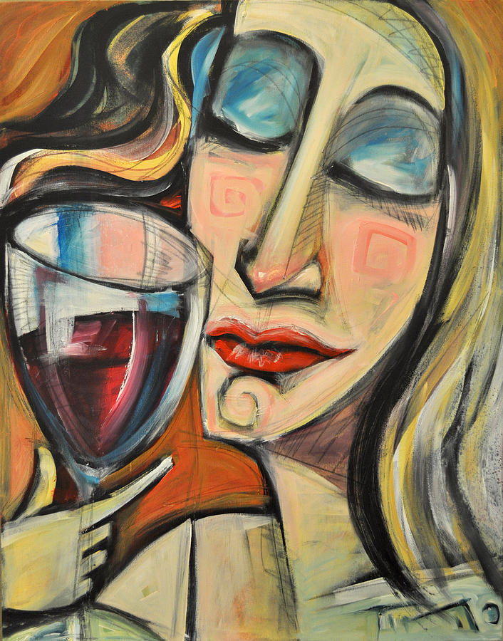 Wine Painting - Savoring The First Sip by Tim Nyberg