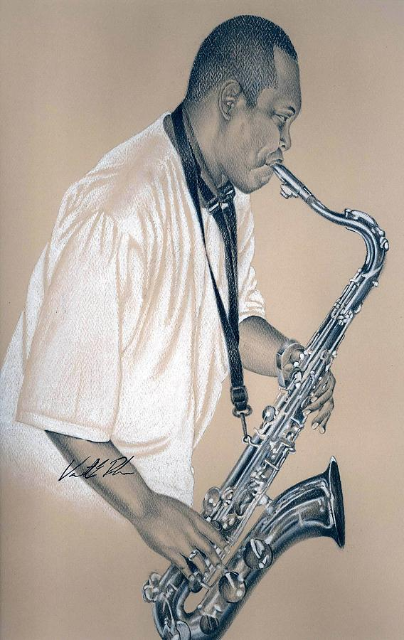 Sax Drawing - Sax Player by Vincent Parker