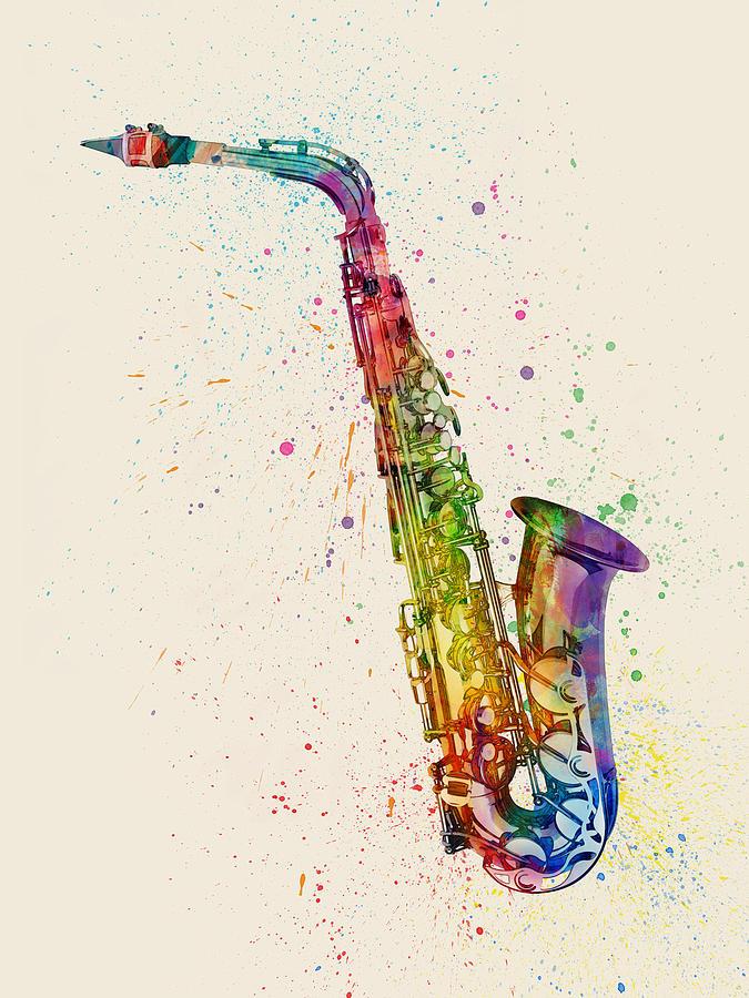 saxophone abstract watercolor digital art by michael tompsett. Black Bedroom Furniture Sets. Home Design Ideas