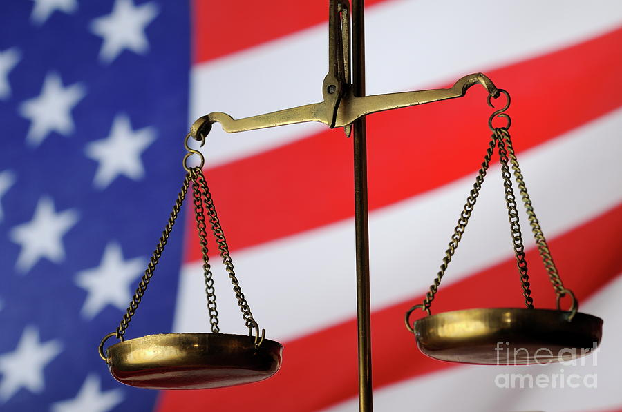 Authority Photograph - Scales Of Justice And American Flag by Sami Sarkis