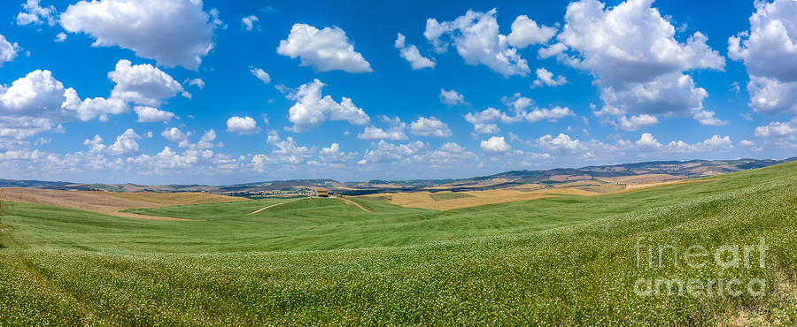 Scenic Tuscany Landscape With Rolling Hills In Val Dorcia, Ital Photograph
