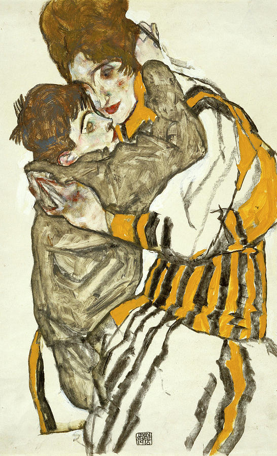 Wife Painting - Schieles Wife With Her Little Nephew 2 by Egon Schiele