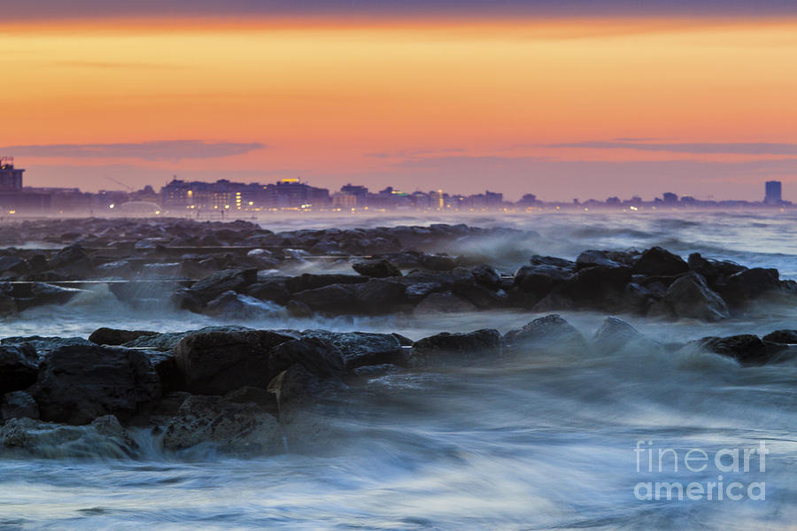 Storm Photograph - Sea Storm At Sunset by Pier Giorgio Mariani