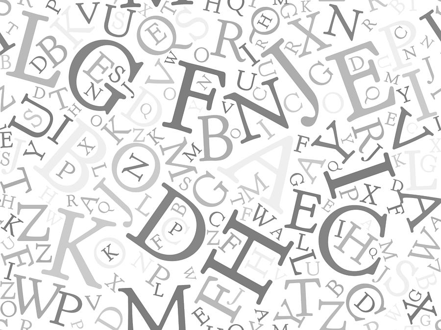 Seamless Background Pattern Mosaic Of Black Letters On White Background