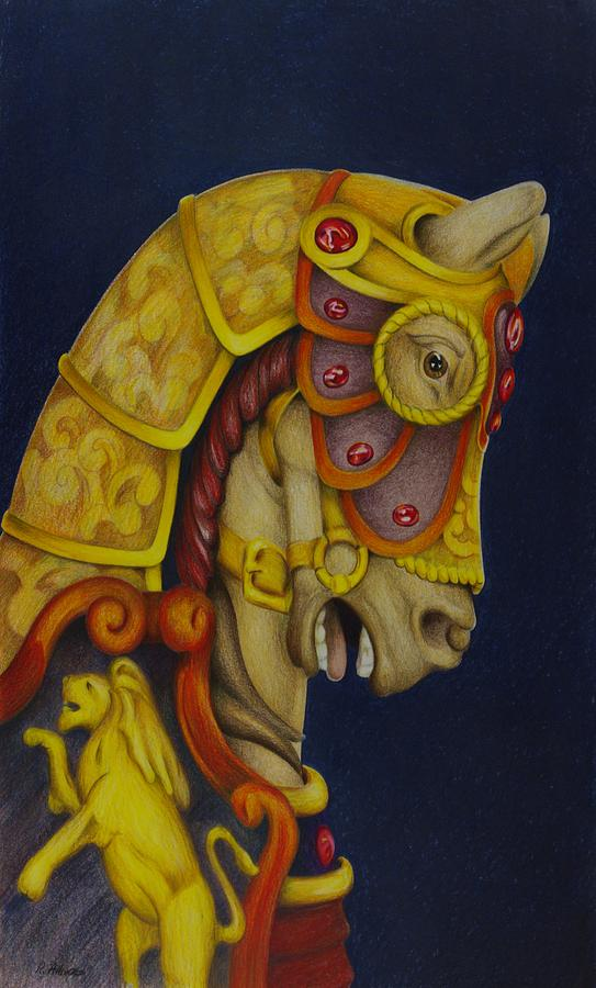 Carousel Horses Drawing - Searching For The Brass Ring No.10 by Rick Ahlvers