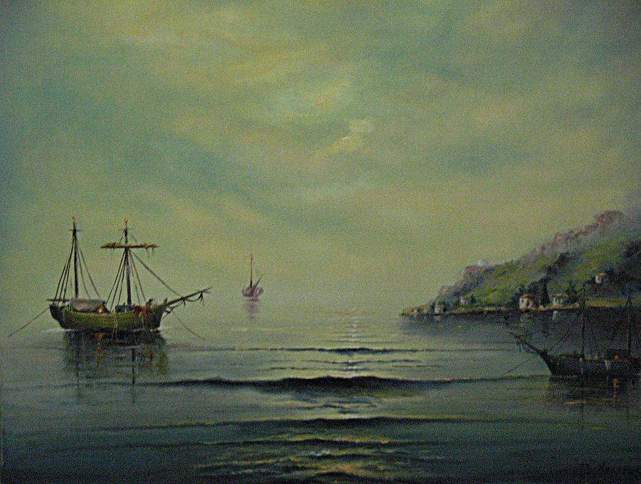 Boat Painting - Seascape by Vasilis Bottas
