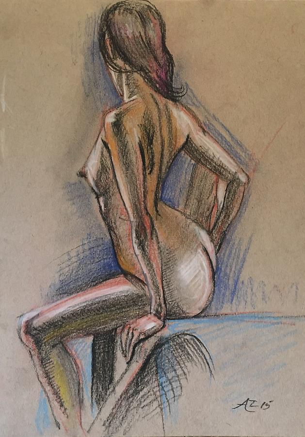 Seated Nude Pastel by Alejandro Lopez-Tasso