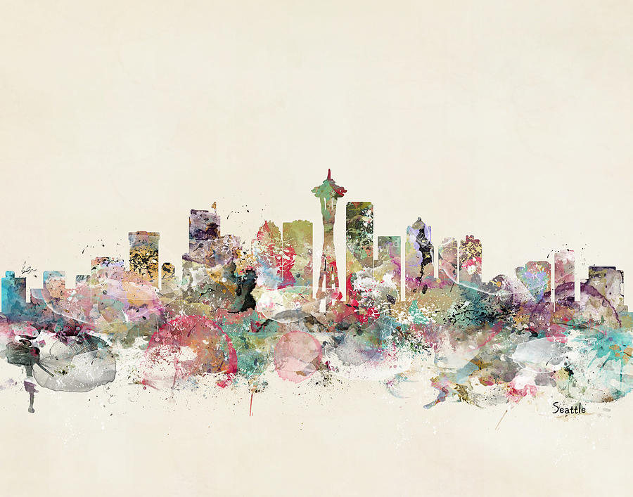 Seattle Painting - Seattle City Skyline by Bri Buckley