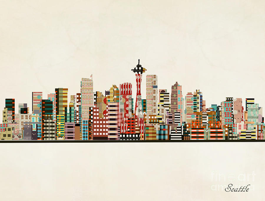 Seattle Painting - Seattle Skyline by Bri Buckley