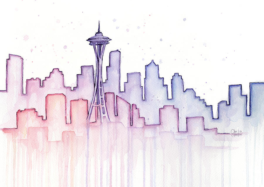 Watercolor Painting - Seattle Skyline Watercolor by Olga Shvartsur
