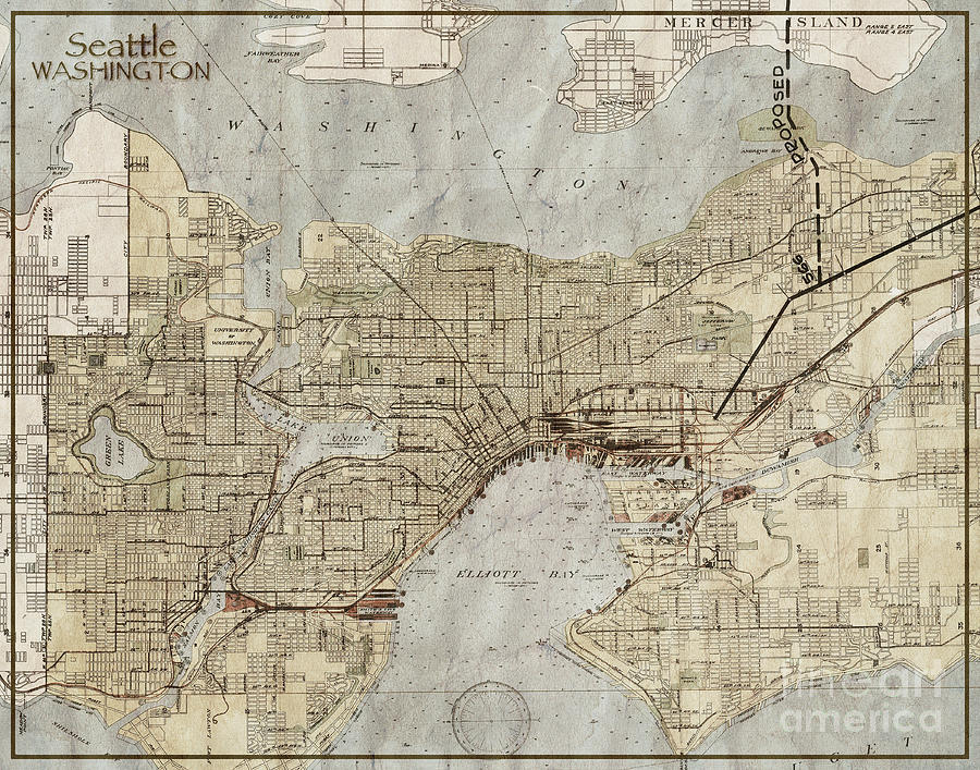Seattle Washington Antique Vintage City Map Photograph By Elite