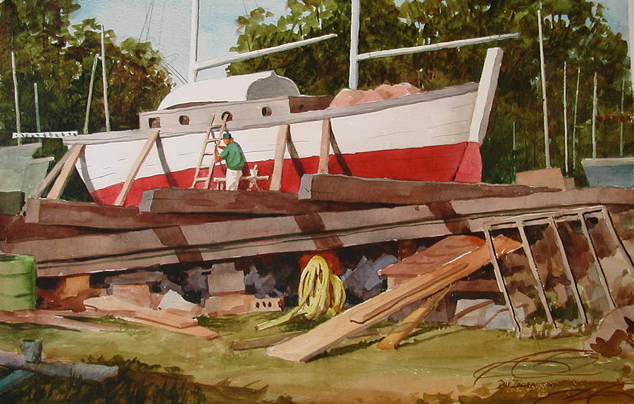 Boats Painting - Second Time Around by Faye Ziegler