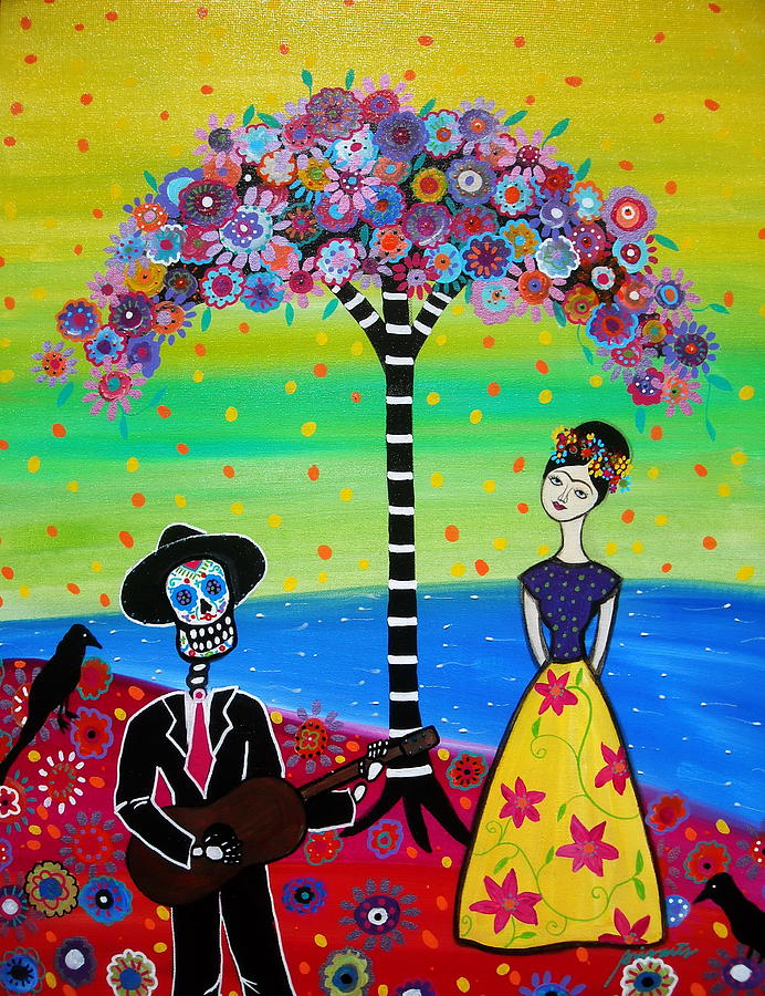 Day Of The Dead Painting - Serenading Frida by Pristine Cartera Turkus