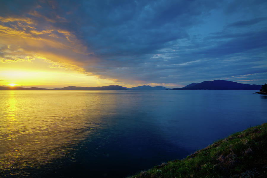Setting sun over rosario strait photograph by rich leighton for T shirts by design anacortes