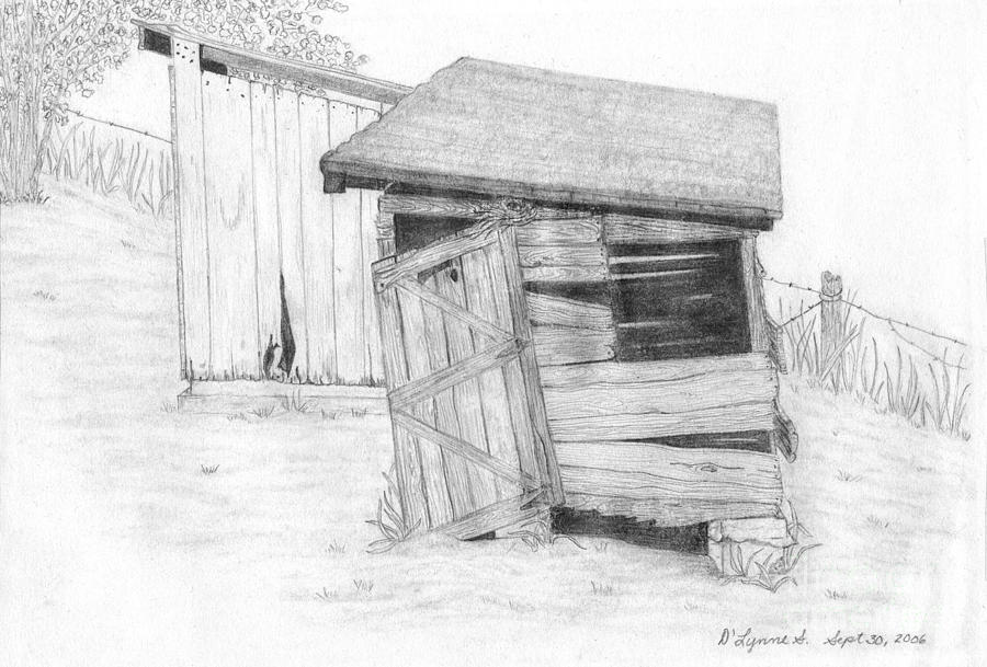 Wpa Drawing - Shed And Wpa Outhouse On Johnson Farm by Tree Whisper Art - DLynneS