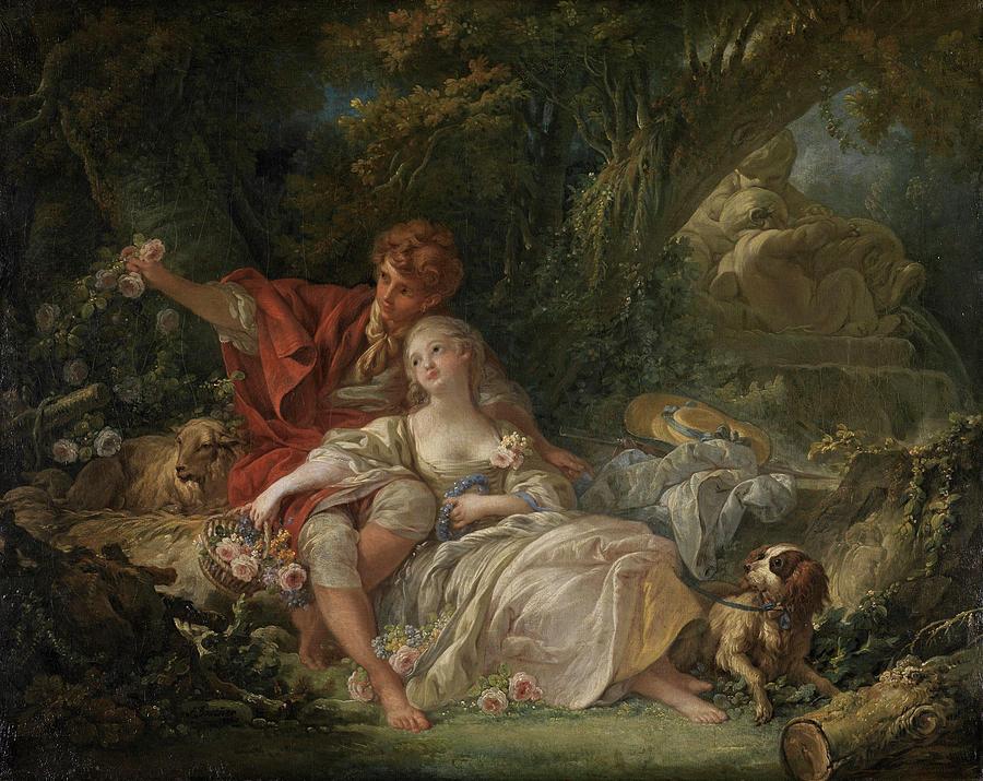 Shepherdess Painting - Shepherd And Shepherdess 2 by Francois Boucher