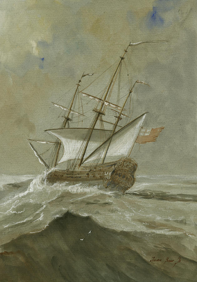 Sail Painting - Ship at the storm by Juan Bosco