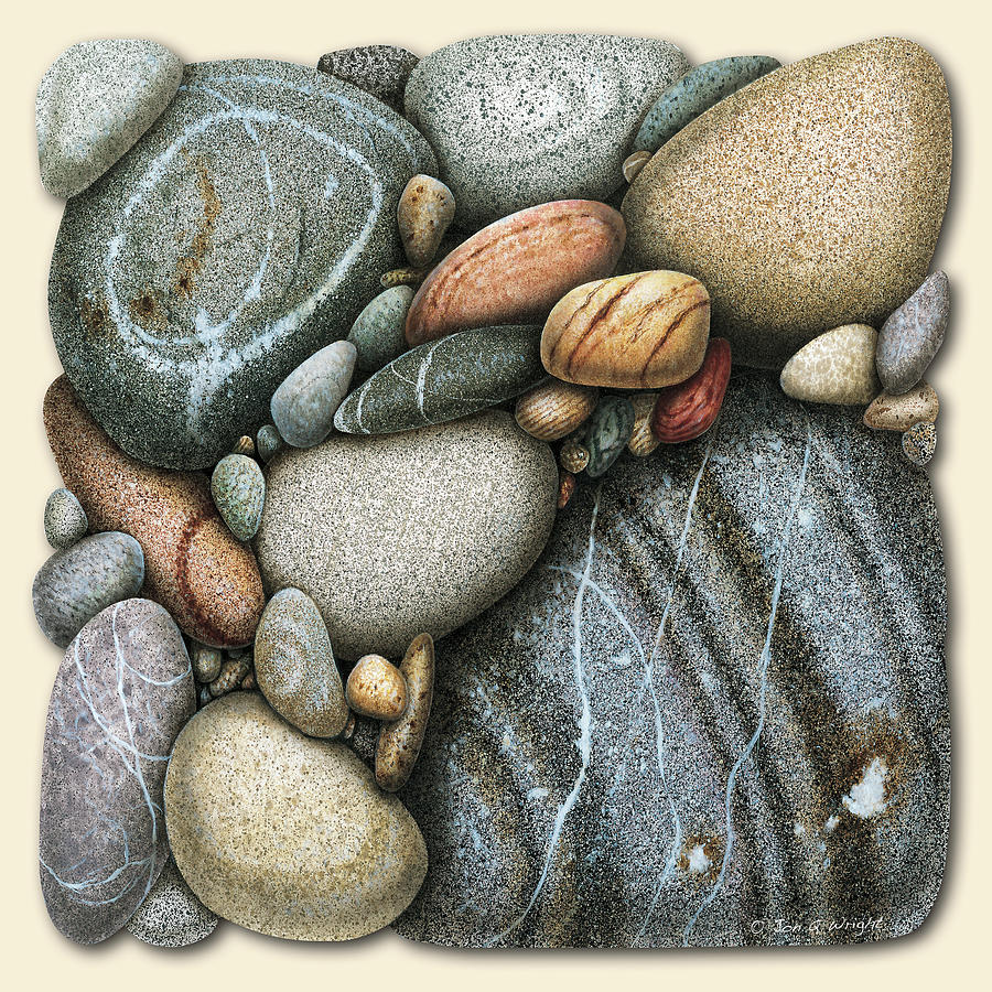 Jon Q Wright Painting - Shore Stones 3 by JQ Licensing
