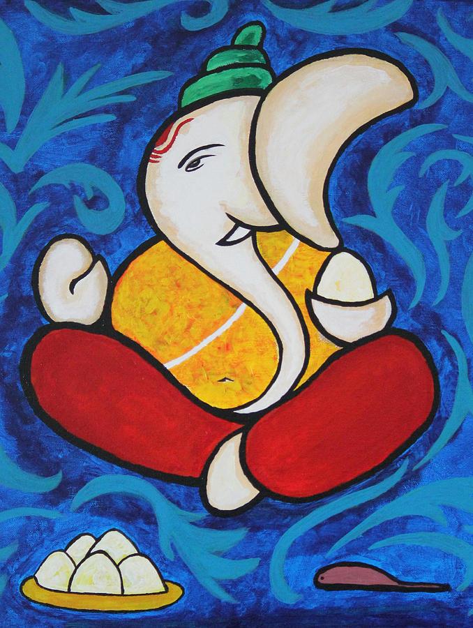 Shri Ganesh Painting b... Simple Paintings Of Lord Krishna