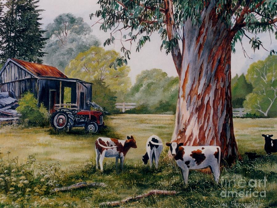 Calves Painting - Siesta Time by Val Stokes