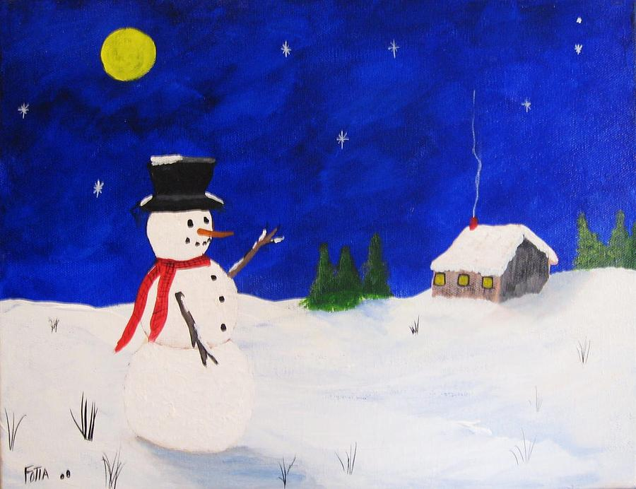 Snowmen Painting - Silent Night by Rich Fotia