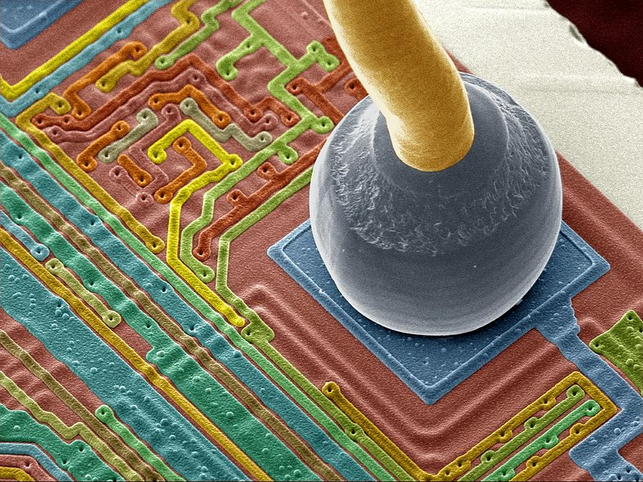 Soldered Photograph - Silicon Chip Micro-wire, Sem by Power And Syred