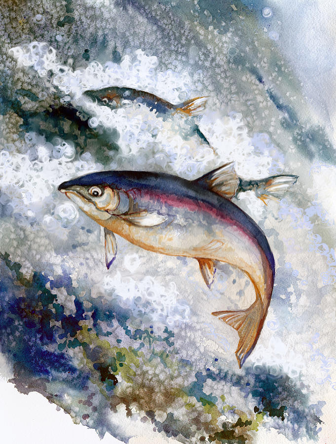 Salmon Painting - Silver Salmon by Peggy Wilson