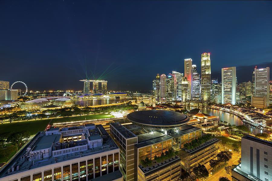 Singapore Photograph - Singapore Cityscape at Night by David Gn