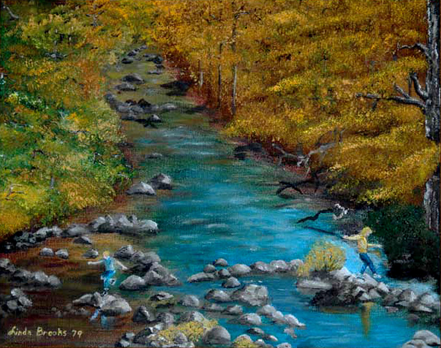 Autumn Painting - Skipping Stones by Linda Hubbard Red Cap Art